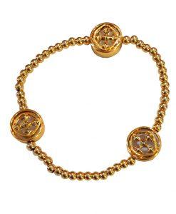 "7.5"" Gold Plated Linked Medallion Stretch Bracelet NEW"